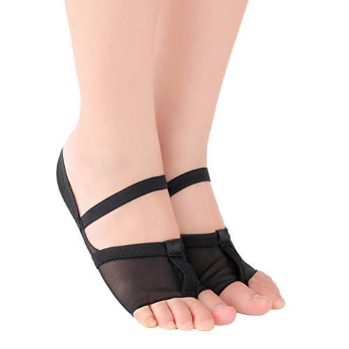 Exceart Paar Tanz Zehenpolster Weiche Sohle Tanzschuhe Größe 41 Bauchtanz Yoga Gym Sport Elastische Atmungsaktive Schuhe für Tänzerinnen Damen Mädchen (Schwarz)