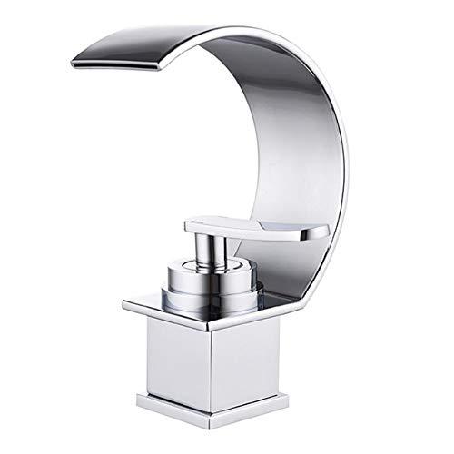 jruia Diseño Negro Cascada lavabo grifo accesorio para grifo de baño lavabo grifo monomando bañera baño grifo F. cuarto de baño de latón, Plateado