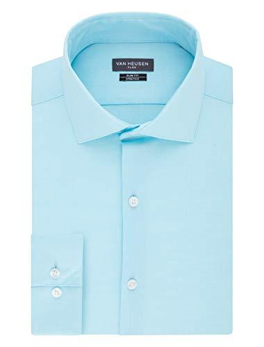 Van Heusen mens Slim Fit Flex Collar Stretch Solid Dress Shirt, Bermuda, 14.5 Neck 32 -33 Sleeve Small US