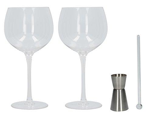 Creatieve Tops Ava & I Gin Glas Geschenkset (set van 2 Ballonglazen met Stirrer en Jigger)