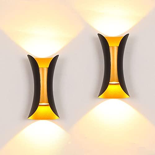 ROSYSKY - Juego de 2 apliques de pared LED modernos de 10 W para porche, lámpara de pared interior, lámpara de pared en Y, apliques...