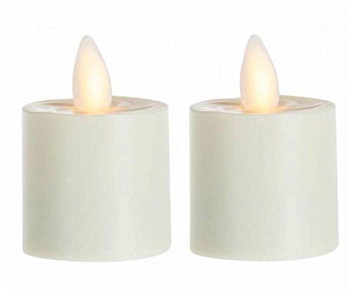 sompex 2er Set Flame LED Teelicht 39000 Elfenbein, fernbedienbar