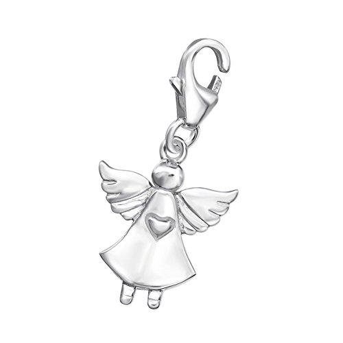 Charm Anhänger Schutz-Engel 925 Sterling Silber mit Karabinerverschluss für Bettelarmband Kette