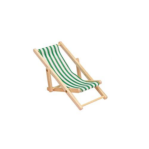 Beito Spielzeug-Haus-Möbel Zubehör Faltbare Ministrandstuhl Mini-Holz-Streifen auf dem Rasen Liegestuhl für Puppen Grün 1pc