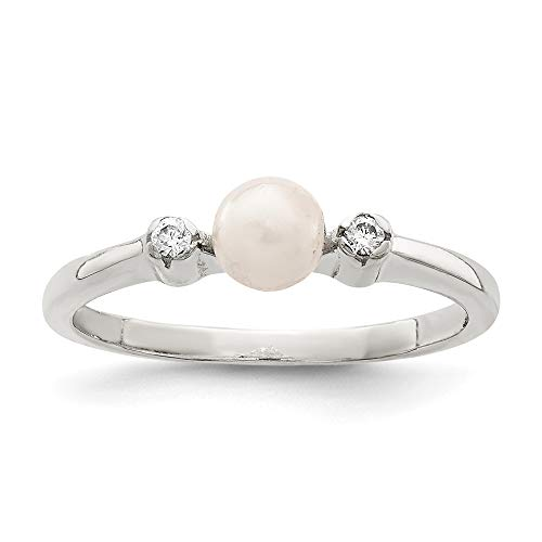 925 Sterling Silver Cubic Zirconia Cz Simulated Pearl Band Ring Size 6.00 Fine Jewelry For Women Mothers Day Gifts For Her