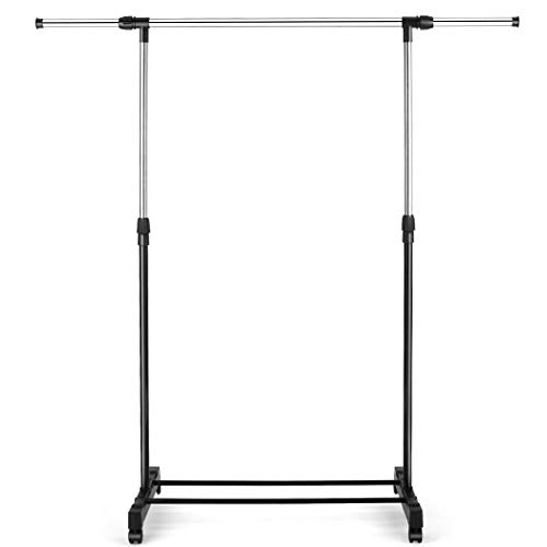 Clothing Garment Racks Removable and Adjustable Height Storage Shelf for Hanging Clothes Houseware Garment Organizer with Wheels