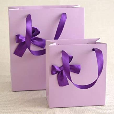 BEESCLOVER 10pcs/lot Solid Color Wedding Favors Gift Bag with Bow Tote Bag Special Paper Handbag Birthday Party Favor Gift Hanging Bag Purple Small