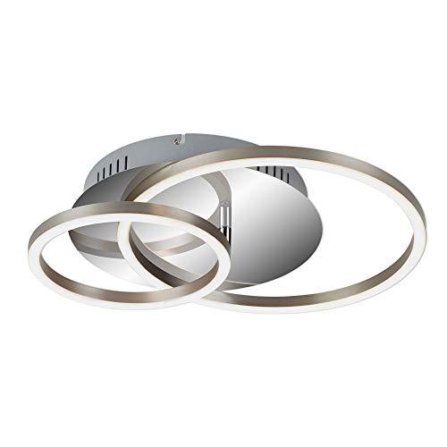 Briloner Leuchten - LED Deckenleuchte, Deckenlampe dimmbar, inkl. Memoryfunktion, 1 LED-Modul drehbar, 30 Watt, 2.400 Lumen, 3.000 Kelvin, Chrom-Alu, 390x300x80mm (LxBxH), 3222-018