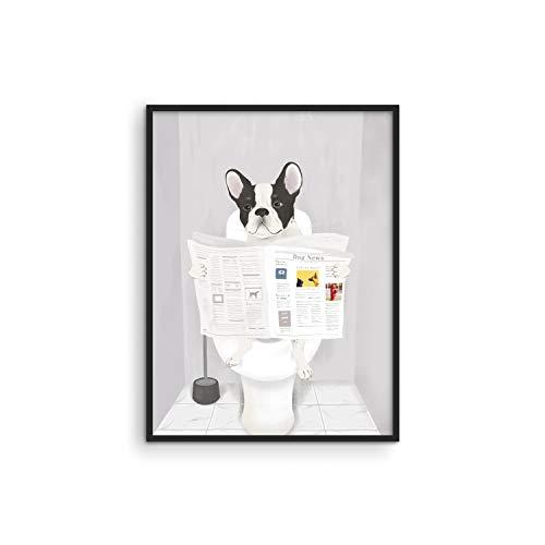 Haus and Hues Funny Dog Bathroom Decor - Funny Bathroom Wall Art of Dog Poster | Wall Art and Animal Posters Dog Bathroom Signs and Funny Bathroom Art UNFRAMED (12x16)