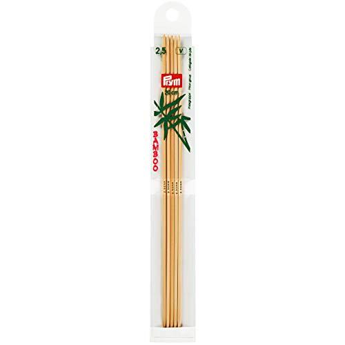 Prym Strumpfstricknadeln, 20 cm, 2,50 mm Strumpfstricknadel, Bambus, Natur, 2,5 mm
