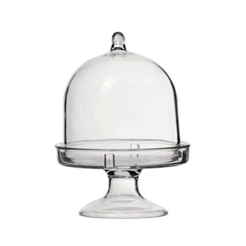 STOBOK Mini Tortenständer Kuchenglocke Glasglocke mit Teller Hochzeit Party Servierplatte (Transparent)