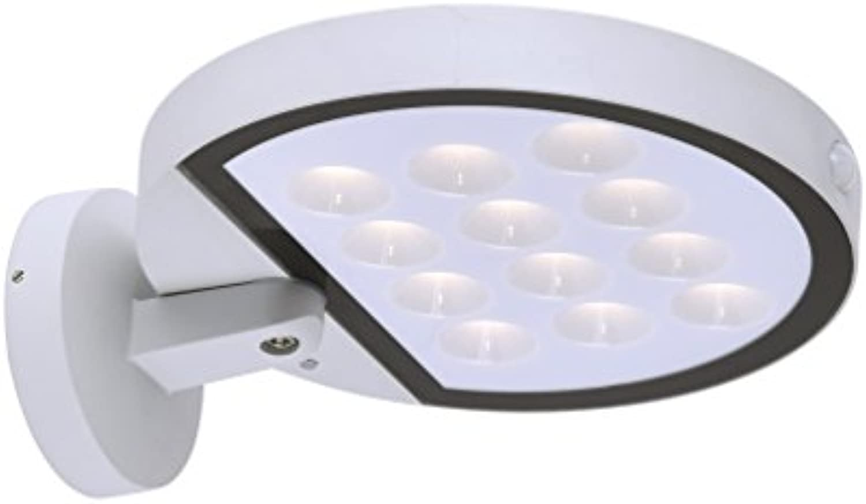 Solar LED-Wandauenleuchte mit Bewegungsmelder Aluminiumguss wei 1 x 10,5W LED-Board 600lm