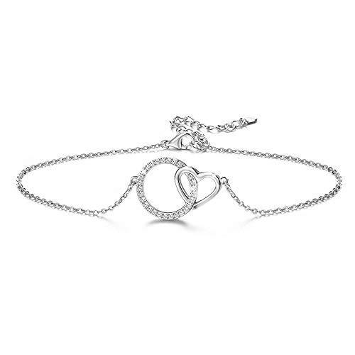 CASSIECA 925 Sterling Silber Fußkette Armband für Damen Mädchen Ring Herz Zirkonia Fußkettchen Romantik Verstellbares Sexy Sommer Schmuck Geschenk Jahrestag