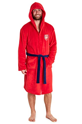 Arsenal F.C. Mens Dressing Gowns, Official Football Fleece Hooded Robe S-3XL (Red, L)