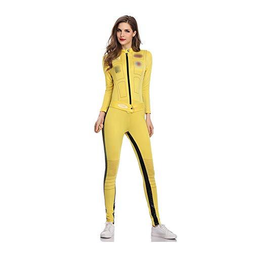 ZZUU Women's Disfraz De Kill Bill Amarillo,con Traje Entero,Yellow Martial Arts Jumpsuit Halloween Fighting Film Outfit Romper Tracksuit Suit,Yellow,M