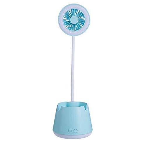 Etase Azul Multifuncional Pluma Soporte LáMpara de Escritorio Ventilador USB Soporte para TeléFono MóVil Ventilador LáMpara de Escritorio Aprendiendo a Leer Ventilador de Luz Nocturna