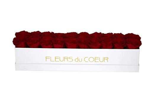 FLEURS du COEUR • Rosenbox Long 20 (Weiß) - 20 Infinity Rosen (Rot) | Flowerbox mit konservierten Rosen verschenken • Blumen von Herzen