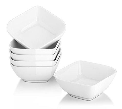 Dowan, set di 6 pirottini quadrati in porcellana, alla moda, colore: bianco