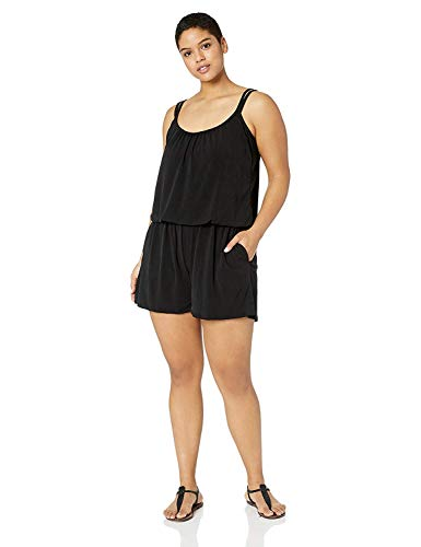 Maxine Of Hollywood Women's Plus-Size Romper One Piece Swimsuit, Black//Solid Tr, 16