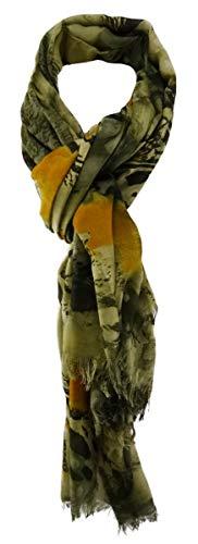 TigerTie Designer sjaal in olijfgroen oranje patroon