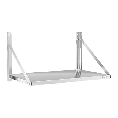 Royal Catering Estante De Pared Plegable Estantería para Cocina RC-BFWS8045 (80 x 45 cm, hasta 40 kg, Grosor de balda: 30 mm, Acero Inoxidable)