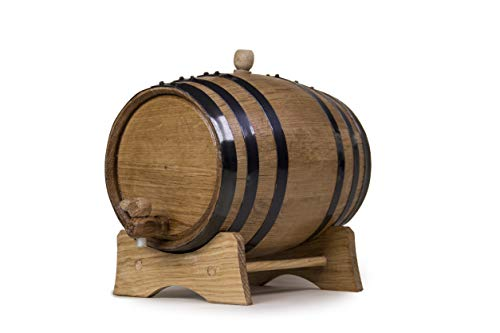 3 Liters Handcrafted American Oak Aged Barrel   Perfect for Aging Your Own Whiskey, Bourbon, Tequila, Rum (Black Steel Hoops)