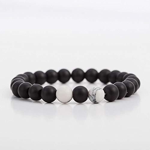 Pulsera Joyas Bracelet White and Black 8Mm Natural Stones Couple Bracelets In Charm Beads Lovers Yoga Bracelets For Men and Women 5
