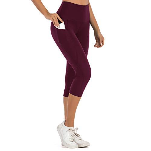 SotRong Cintura alta 3/4 longitud ropa deportiva con bolsillos estiramiento desnudo sensación apretada llanura corriendo mujeres yoga pantalones gimnasio