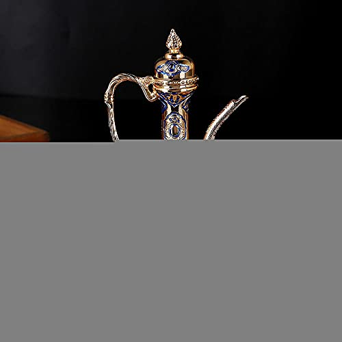Boda festiva musulmana vino conjunto de estilo europeo suave con aleación de piedras preciosas Copa de vino Flagon Set-azul