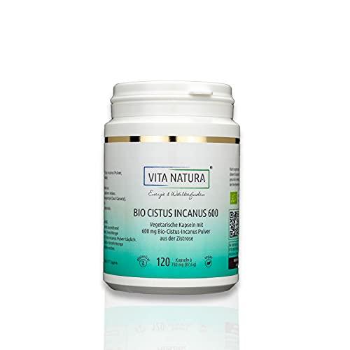 VITA NATURA Bio Cistus Incanus Kapseln - 600 mg - aus Griechenland - Vegi-Kapseln - Zistrose Kapseln - 100% Vegan - Biozertifiziert (1 x 120 Stk.)