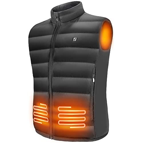 Barrjee Chaleco Calefactado para Hombres Lavable,Chaqueta con 3 Niveles de Temperatura,Chaleco con Calefacción Eléctrica USB para Exteriores,Senderismo,Camping