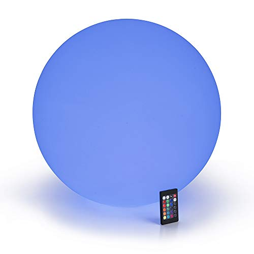 LOFTEK LED Floating Pool Lights: 20-inch RGB 16 Color Changing Glow Ball with Remote Control, Cordless Decor Orb, UL Listed Adapter, Waterproof and Rechargeable Battery