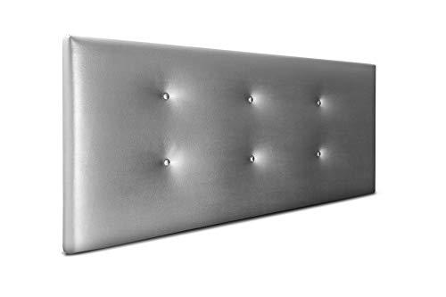 SUENOSZZZ-ESPECIALISTAS DEL DESCANSO Cabecero de Cama Bruselas tapizado en Polipiel para Camas de 90 (100 x 57 cm) Polipiel Plata