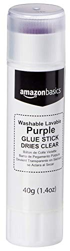 Amazon Basics Large Washable Purple Glue Sticks (Dries Clear), 1.4 oz Stick, 3-Pack