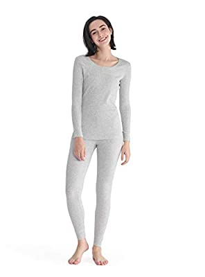 Women's Thermal Underwear Cotton Long Underwear Long John Womens Base Layer Set (Heather Light Gray, XL)