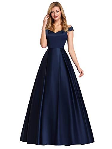 Ever-Pretty Robe de Bal Soirée Gala Épaules Dénudées A-Line Élégante Longue Satin Femme Bleu Marine 36