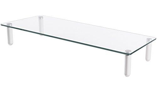 DIGITUS Universal Monitor-Erhöhung aus Glas - Bildschirm-Ständer - Traglast 20 kg - Rutschhemmend - Füße in Weiß