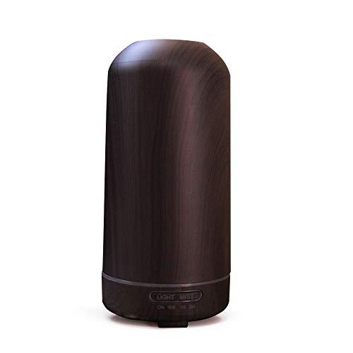 kMOoz Mini-luchtreiniger, luchtbevochtiger, houtnerf, huis-stil, aroma, luchtbevochtiger, draagbare koude mist diffuser voor slaapkamer zwart