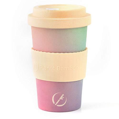 Planet Bamboo | nachhaltiger Kaffeebecher | Coffee-to-Go-Becher aus Bambus mit Bambusdeckel | lebensmittelecht | spülmaschinenfest | 355 ml | inkl. kostenloser Filz Manschette (White Choc)