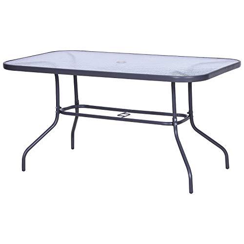 Outsunny Tavolo da Giardino con Foro per Ombrellone, Arredamento da Esterno in Metallo e Vetro 140x80x70cm Grigio