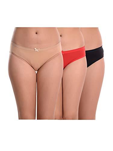 Body n Beyond (Pack of 3) Cotton Bikini Low Rise Anti-Microbial Panties -Skin, Red & Black (M)