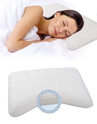 daydream 65x35x10 Kopfkissen Wellenform aus Memory Foam + Bambus-Bezug + atmungsaktiv mit Ventilationslöchern (P-22200), Kissen für 80 x 80 cm Bezug | Kopfkissen | Nackenstützkissen | Schlafkissen | Bettkissen | Nackenkissen |