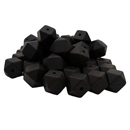 50pcs Black Color 14mm Silicone Hexagon Pearl Beads Silicone Geometry Spacer Beads for DIY Beading Mom Jewelry Necklace Making