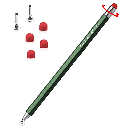 Mixoo Stylus Pen for Touch Screens, 2 in 1 Rotatable Capacitive Universal Pen with 2 Disc & 4 Rubber Replacement Tips for iPad/iPhone/Pro/Mini/Air/Tablets/Microsoft and All TouchScreen Devices (Green)