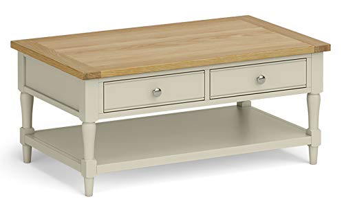 RoselandFurniture Chichester Painted Coffee Table - Oak Top - Two Drawers (Ledum Green)