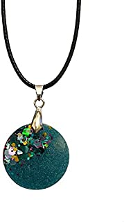 AGA Sequin Detail Round Shaped Handmade Resin Pendant Necklace - Emerald Green