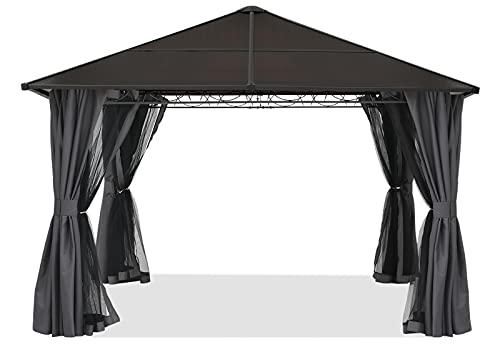 ABCCANOPY 10x10 Steel Hardtop Gazebo for Outdoor Garden Patio with Privacy Curtains and Netting...