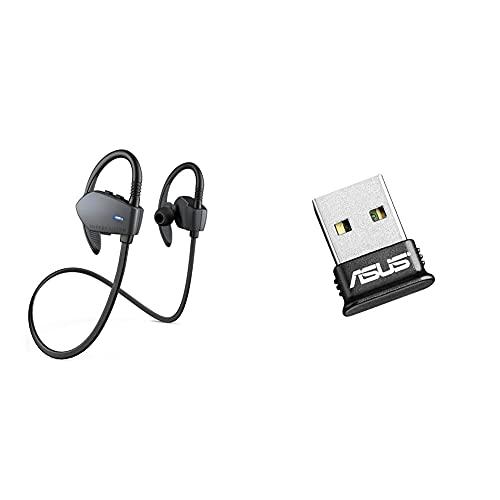 Energy Sistem Earphones Sport 1 Bluetooth - Gris + ASUS Usb-Bt400 - Adaptador USB Bluetooth 4.0 (Puede Ser Controlador De Ps4 Y Xbox One En La Pc)