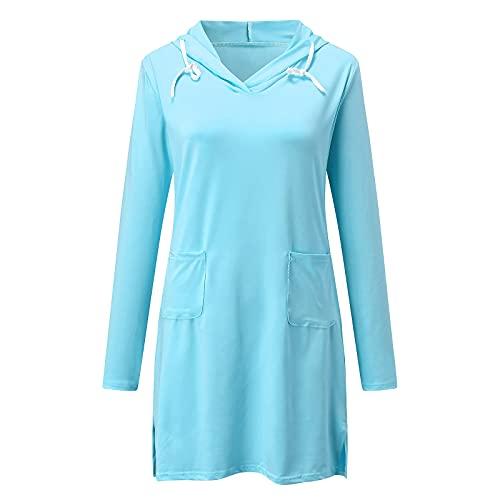 Vestito da Donna alla Moda, Tinta Unita, con Cappuccio, a Maniche Lunghe, Scollo a V, con Tasca Sfusa, Crema Solare, Mini Gonna da Spiaggia