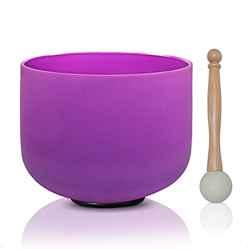 Cvnc 8 Inch Purple Color B Note Crown Frosted Quartz Crystal Singing Bowl + Free Mallet &Amp; O-Ring Sound Healing Instrument